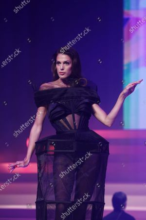 Iris Mittenaere, French Miss Universe 2017, presents a creation from the Spring/Summer 2020 Haute Couture collection by French designer Jean Paul Gaultier during the Paris Fashion Week, in Paris, France, 22 January 2020. After 50 years in the fashion industry, Gaultier announced that this Haute Couture show at the Theatre du Chatelet will be his last. The presentation of the Haute Couture collections ends on 23 January 2020.