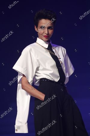 French-Algerian actress Farida Khelfa presents a creation from the Spring/Summer 2020 Haute Couture collection by French designer Jean Paul Gaultier during the Paris Fashion Week, in Paris, France, 22 January 2020. After 50 years in the fashion industry, Gaultier announced that this Haute Couture show at the Theatre du Chatelet will be his last. The presentation of the Haute Couture collections ends on 23 January 2020.