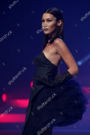 US model Bella Hadid presents a creation from the Spring/Summer 2020 Haute Couture collection by French designer Jean Paul Gaultier during the Paris Fashion Week, in Paris, France, 22 January 2020. After 50 years in the fashion industry, Gaultier announced that this Haute Couture show at the Theatre du Chatelet will be his last. The presentation of the Haute Couture collections ends on 23 January 2020.
