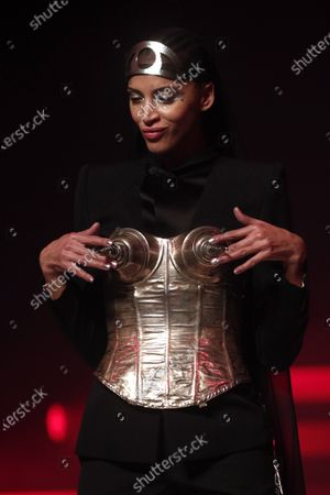 French model Noemie Lenoir presents a creation from the Spring/Summer 2020 Haute Couture collection by French designer Jean Paul Gaultier during the Paris Fashion Week, in Paris, France, 22 January 2020. After 50 years in the fashion industry, Gaultier announced that this Haute Couture show at the Theatre du Chatelet will be his last. The presentation of the Haute Couture collections ends on 23 January 2020.