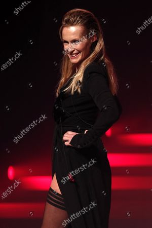 Stock Image of French model Estelle Lefebure presents a creation from the Spring/Summer 2020 Haute Couture collection by French designer Jean Paul Gaultier during the Paris Fashion Week, in Paris, France, 22 January 2020. After 50 years in the fashion industry, Gaultier announced that this Haute Couture show at the Theatre du Chatelet will be his last. The presentation of the Haute Couture collections ends on 23 January 2020.
