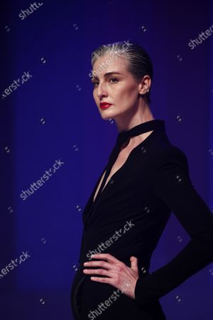 British model Erin O'Connor presents a creation from the Spring/Summer 2020 Haute Couture collection by French designer Jean Paul Gaultier during the Paris Fashion Week, in Paris, France, 22 January 2020. After 50 years in the fashion industry, Gaultier announced that this Haute Couture show at the Theatre du Chatelet will be his last. The presentation of the Haute Couture collections ends on 23 January 2020.