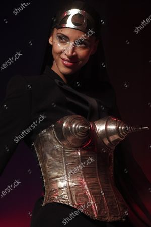 Stock Photo of French model Noemie Lenoir presents a creation from the Spring/Summer 2020 Haute Couture collection by French designer Jean Paul Gaultier during the Paris Fashion Week, in Paris, France, 22 January 2020. After 50 years in the fashion industry, Gaultier announced that this Haute Couture show at the Theatre du Chatelet will be his last. The presentation of the Haute Couture collections ends on 23 January 2020.