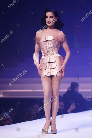 US Burlesque dancer Dita von Teese presents a creation from the Spring/Summer 2020 Haute Couture collection by French designer Jean Paul Gaultier during the Paris Fashion Week, in Paris, France, 22 January 2020. After 50 years in the fashion industry, Gaultier announced that this Haute Couture show at the Theatre du Chatelet will be his last. The presentation of the Haute Couture collections ends on 23 January 2020.