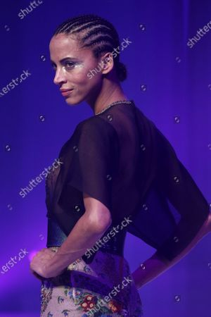 Stock Picture of French model Noemie Lenoir presents a creation from the Spring/Summer 2020 Haute Couture collection by French designer Jean Paul Gaultier during the Paris Fashion Week, in Paris, France, 22 January 2020. After 50 years in the fashion industry, Gaultier announced that this Haute Couture show at the Theatre du Chatelet will be his last. The presentation of the Haute Couture collections ends on 23 January 2020.