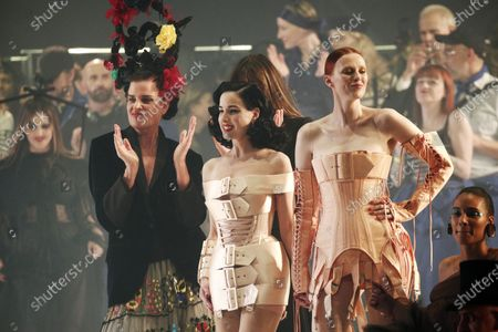 US burlesque performer Dita Von Teese (C) and British model Karen Elson (R) celebrate after French designer Jean Paul Gaultier presented his last Spring/Summer 2020 Haute Couture collection during the Paris Fashion Week, in Paris, France, 22 January 2020. After 50 years in the fashion industry, Gaultier announced that this Haute Couture show at the Theatre du Chatelet will be his last. The presentation of the Haute Couture collections ends on 23 January 2020.