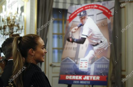 Sports Illustrated model and wife of former New York Yankees short stop Derek Jeter, Hannah Jeter (L) smiles as he addresses members of the media as the newest electee to the 2020 Major League Baseball (MLB) Hall of Fame during a press conference about their induction at the St. Regis Hotel in New York, New York, USA, 22 January 2020. Former Colorado Rockies right fielder Larry Walker was also inducted.