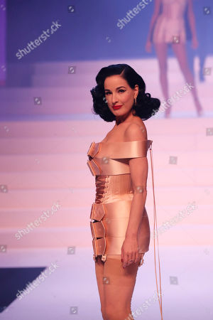 Burlesque dancer Dita Von Teese wears a creation for the final Jean Paul Gaultier Haute Couture Spring/Summer 2020 fashion collection presented in Paris. Fashion icon Gaultier presented his final couture catwalk collection, the designer's only remaining runway show since putting an end to his ready to wear collections in 2014
