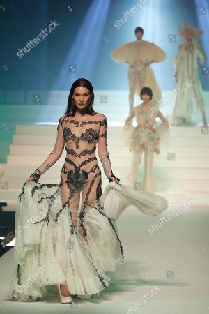 Model Bella Hadid wears a creation for the final Jean Paul Gaultier Haute Couture Spring/Summer 2020 fashion collection presented in Paris. Fashion icon Gaultier presented his final couture catwalk collection, the designer's only remaining runway show since putting an end to his ready to wear collections in 2014