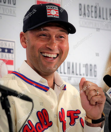 New York Yankees shortstop Derek Jeter speaks during a Baseball Hall of Fame press conference, in New York. Jeter and Larry Walker will both join the 2020 Hall of Fame class