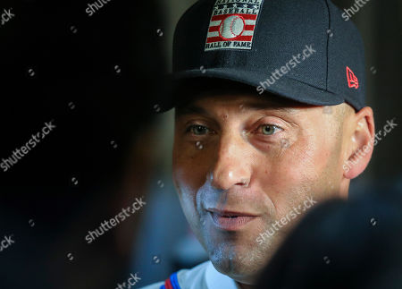 New York Yankees shortstop Derek Jeter speaks during the Baseball Hall of Fame press conference, in New York. Jeter and Colorado Rockies outfielder Larry Walker will both join the 2020 Hall of Fame class