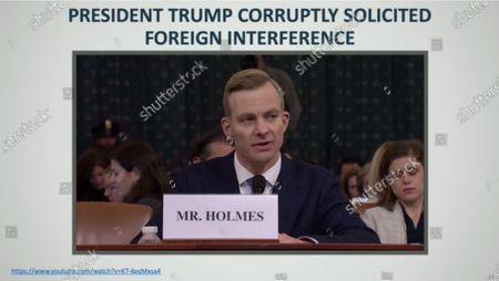 Editorial picture of US President Donald Trump impeachment trial, Washington DC, USA - 22 Jan 2020
