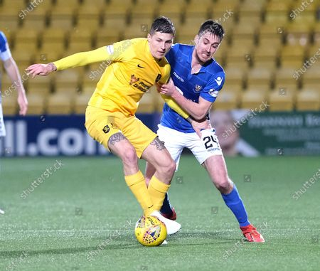 Stock Picture of Lyndon Dykes of Livingston and Callum Booth of St Johnstone