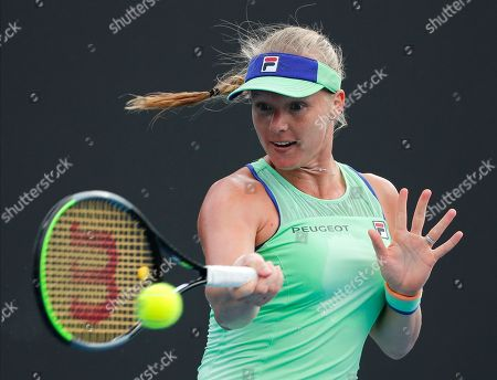 Kiki Bertens of the Netherlands makes a forehand return to Australia's Arina Rodionova during their second round singles match at the Australian Open tennis championship in Melbourne, Australia