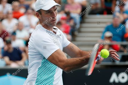 Ivo Karlovic of Croatia in action during his men's singles second round match against Gael Monfils of France at the Australian Open Grand Slam tennis tournament in Melbourne, Australia, 23 January 2020.