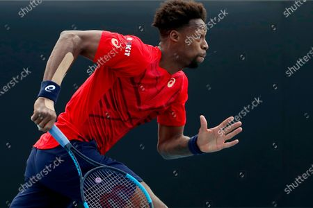 Gael Monfils of France in action during his men's singles second round match against Ivo Karlovic of Croatia at the Australian Open Grand Slam tennis tournament in Melbourne, Australia, 23 January 2020.