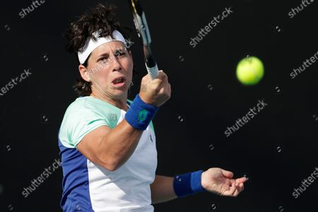 Carla Suarez Navarro of Spain in action during her women's singles second round match against Iga Swiatek of Poland at the Australian Open Grand Slam tennis tournament in Melbourne, Australia, 23 January 2020.