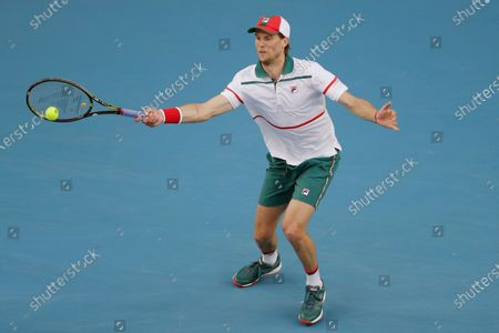 Andreas Seppi of Italy in action during his men's singles second round match against Stan Wawrinka of Switzerland at the Australian Open Grand Slam tennis tournament in Melbourne, Australia, 23 January 2020.
