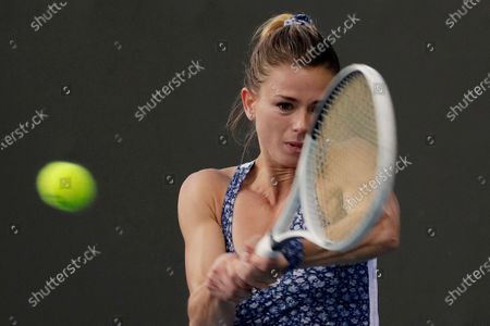 Camila Giorgi of Italy in action during her women's singles second round match against Svetlana Kuznetsova of Russia  at the Australian Open Grand Slam tennis tournament in Melbourne, Australia, 23 January 2020.
