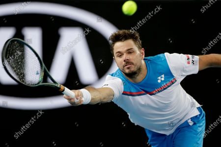 Stan Wawrinka of Switzerland in action during his men's singles second round match against Andreas Seppi of Italy at the Australian Open Grand Slam tennis tournament in Melbourne, Australia, 23 January 2020.