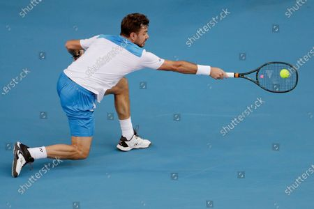 Stock Image of Stan Wawrinka of Switzerland in action during his men's singles second round match against Andreas Seppi of Italy at the Australian Open Grand Slam tennis tournament in Melbourne, Australia, 23 January 2020.