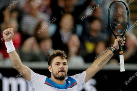 Stock Photo of Stan Wawrinka of Switzerland celebrates winning his men's singles second round match against Andreas Seppi of Italy at the Australian Open Grand Slam tennis tournament in Melbourne, Australia, 23 January 2020.