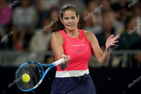 Julia Goerges of Germany in action during her first round doubles match against Astra Sharma of Australia and Jessica Moore of Australia on day four of the Australian Open tennis tournament at Melbourne Park in Melbourne, Australia, 23 January 2020.