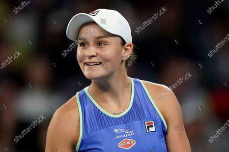 Ashleigh Barty of Australia reacts during her first round doubles match with Julia Goerges of Germany against Astra Sharma of Australia and Jessica Moore of Australia on day four of the Australian Open tennis tournament at Melbourne Park in Melbourne, Australia, 23 January 2020.