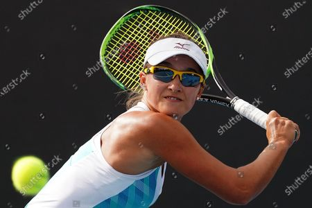 Arina Rodionova of Australia in action against Kiki Bertens of the Netherlands during a second round match on day four of the Australian Open tennis tournament at Melbourne Park in Melbourne, Australia, 23 January 2020.
