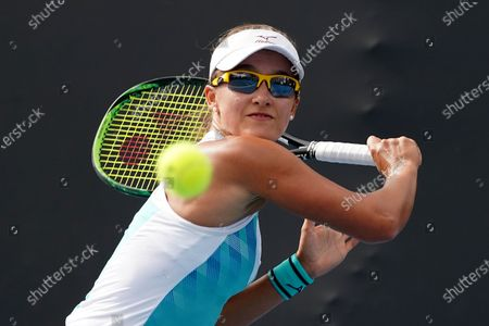 Stock Image of Arina Rodionova of Australia in action against Kiki Bertens of the Netherlands during a second round match on day four of the Australian Open tennis tournament at Melbourne Park in Melbourne, Australia, 23 January 2020.