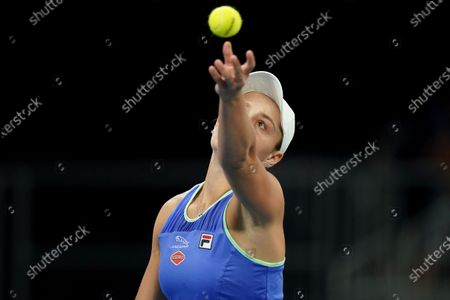 Ashleigh Barty of Australia in action during her first round doubles match against Astra Sharma of Australia and Jessica Moore of Australia on day four of the Australian Open tennis tournament at Melbourne Park in Melbourne, Australia, 23 January 2020.
