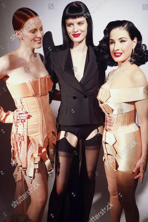 Karen Elson, model and Dita Von Teese backstage