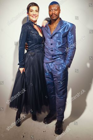 Cristina Cordula and Djibril Cisse backstage