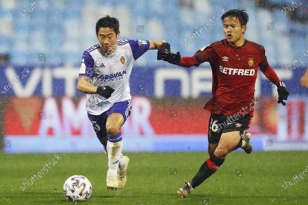 Stock Picture of Shinji Kagawa of Real Zaragoza and Takefusa Kubo of RCD Mallorca