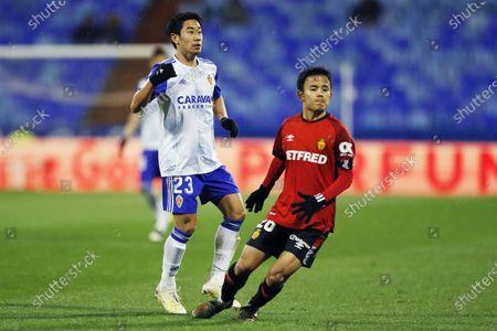 Stock Image of Shinji Kagawa of Real Zaragoza and Takefusa Kubo of RCD Mallorca