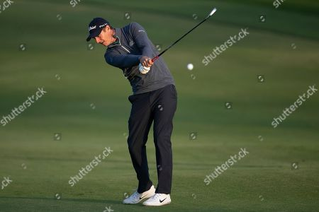 Nicolas Colsaerts of Belgium plays a shot on the 10th hole during the first round of the Dubai Desert Classic golf tournament in Dubai, United Arab Emirates