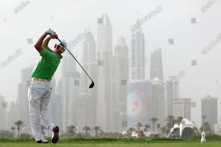 Miguel Angel Jimenez of Spain tees off during the first round of Omega Dubai Desert Classic 2020 Golf tournament at Emirates Golf Club in Dubai, United Arab Emirates, 23 January 2020.