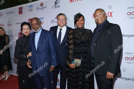 Stock Picture of Jacqueline Avant, Clarence Avant, Ted Sarandos, Nicole Avant, Reginald Hudlin. Jacqueline Avant, on left, Clarence Avant, Ted Sarandos, Nicole Avant and Reginald Hudlin attend the 11th Annual AAFCA Awards at the Taglyan Complex, in Los Angeles