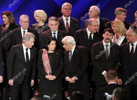 (L-R front row) Finnish President Sauli Niinisto, President of Georgia Salome Zourabichvili, Greek President Prokopis Pavlopoulos, Hungarian President Janos Ader and President of Moldova Igor Dodon during the Fifth World Holocaust Forum at the Yad Vashem Holocaust memorial museum in Jerusalem, Israel, 23 January 2020. The event marking the 75th anniversary of the liberation of Auschwitz under the title 'Remembering the Holocaust: Fighting Antisemitism' is held to preserve the memory of the Holocaust atrocities by Nazi Germany during World War II.