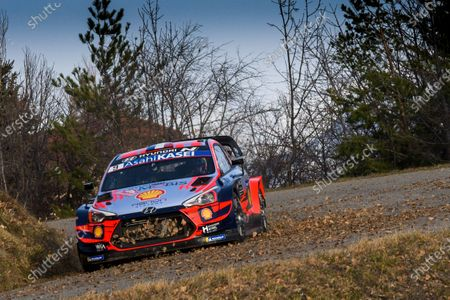 Sebastien Loeb of France drives his Hyundai i20 Coupe WRC during the shakedown of the Rally Monte Carlo 2020, Gap, France, January 22, 2020.