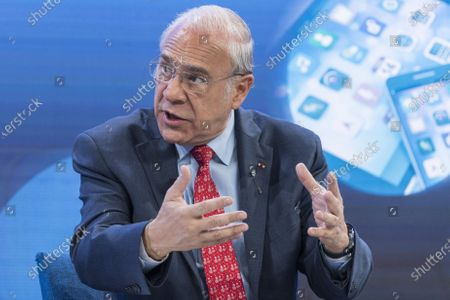 Angel Gurria, Secretary-General, Organisation for Economic Co-operation and Development (OECD), addresses a panel session during the 50th annual meeting of the World Economic Forum (WEF) in Davos, Switzerland, 23 January 2020. The meeting brings together entrepreneurs, scientists, corporate and political leaders in Davos under the topic 'Stakeholders for a Cohesive and Sustainable World' from 21 to 24 January 2020.