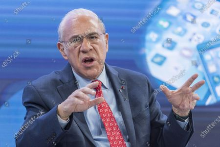 Stock Photo of Angel Gurria, Secretary-General, Organisation for Economic Co-operation and Development (OECD), addresses a panel session during the 50th annual meeting of the World Economic Forum (WEF) in Davos, Switzerland, 23 January 2020. The meeting brings together entrepreneurs, scientists, corporate and political leaders in Davos under the topic 'Stakeholders for a Cohesive and Sustainable World' from 21 to 24 January 2020.
