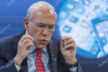 Stock Picture of Angel Gurria, Secretary-General, Organisation for Economic Co-operation and Development (OECD), addresses a panel session during the 50th annual meeting of the World Economic Forum (WEF) in Davos, Switzerland, 23 January 2020. The meeting brings together entrepreneurs, scientists, corporate and political leaders in Davos under the topic 'Stakeholders for a Cohesive and Sustainable World' from 21 to 24 January 2020.