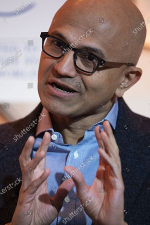Satya Nadella, Chief Executive Officer Microsoft, during the 50th annual meeting of the World Economic Forum (WEF) in Davos, Switzerland, 23 January 2020. The meeting brings together entrepreneurs, scientists, corporate and political leaders in Davos under the topic 'Stakeholders for a Cohesive and Sustainable World' from 21 to 24 January 2020.