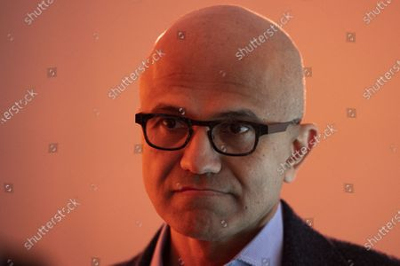 Stock Photo of Satya Nadella, Chief Executive Officer Microsoft, during the 50th annual meeting of the World Economic Forum (WEF) in Davos, Switzerland, 23 January 2020. The meeting brings together entrepreneurs, scientists, corporate and political leaders in Davos under the topic 'Stakeholders for a Cohesive and Sustainable World' from 21 to 24 January 2020.