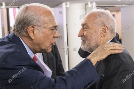 Angel Gurria (L), Secretary-General, Organisation for Economic Co-operation and Development (OECD), talks to Joseph Stiglitz, US economist and Nobel Prize winner, during the 50th annual meeting of the World Economic Forum (WEF) in Davos, Switzerland, 23 January 2020. The meeting brings together entrepreneurs, scientists, corporate and political leaders in Davos under the topic 'Stakeholders for a Cohesive and Sustainable World' from 21 to 24 January 2020.