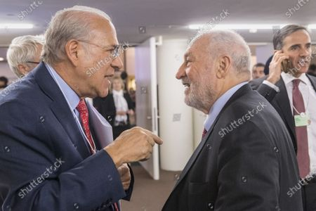 Stock Image of Angel Gurria (L), Secretary-General, Organisation for Economic Co-operation and Development (OECD), talks to Joseph Stiglitz, US economist and Nobel Prize winner, during the 50th annual meeting of the World Economic Forum (WEF) in Davos, Switzerland, 23 January 2020. The meeting brings together entrepreneurs, scientists, corporate and political leaders in Davos under the topic 'Stakeholders for a Cohesive and Sustainable World' from 21 to 24 January 2020.