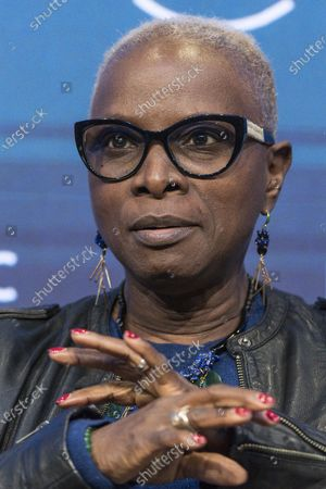 Angelique Kidjo, Musician and UNICEF Goodwill Ambassador, from Benin and France, addresses a panel session during the 50th annual meeting of the World Economic Forum (WEF) in Davos, Switzerland, 23 January 2020. The meeting brings together entrepreneurs, scientists, corporate and political leaders in Davos from January 21 to 24.