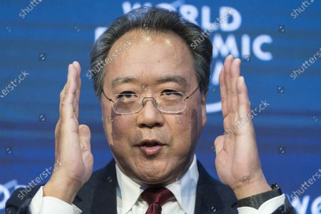 Cellist Yo-Yo Ma, USA, addresses a panel session during the 50th annual meeting of the World Economic Forum (WEF) in Davos, Switzerland, 23 January 2020. The meeting brings together entrepreneurs, scientists, corporate and political leaders in Davos from January 21 to 24.