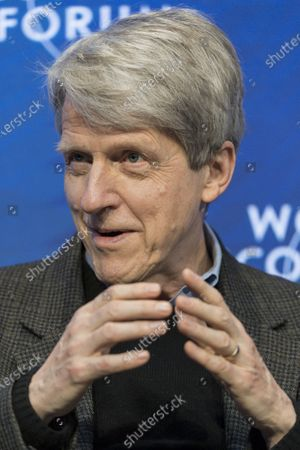 Robert Shiller, Professor of Economics, Yale University, USA, addresses a panel session during the 50th annual meeting of the World Economic Forum (WEF) in Davos, Switzerland, 23 January 2020. The meeting brings together entrepreneurs, scientists, corporate and political leaders in Davos from January 21 to 24.